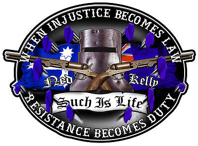 Ned Kelly Resistance Eureka Stockade  Gloss Laminated Decal 50Mm By 36Mm