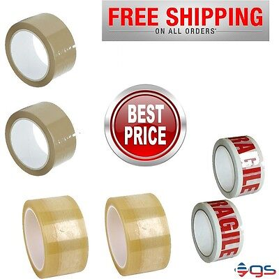 BIG ROLLS OF BUFF BROWN/CLEAR/FRAGILE PACKAGING PARCEL TAPE 48mm x 50m QUALITY