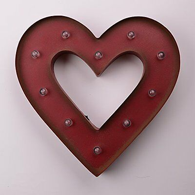 "Glitzhome 14.06""H Marquee LED Lighted Heart Sign Battery Operated, Red, New, Fre"