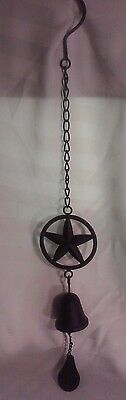 "Cast Iron Americana Star Hanging Bell--24"" In Length"