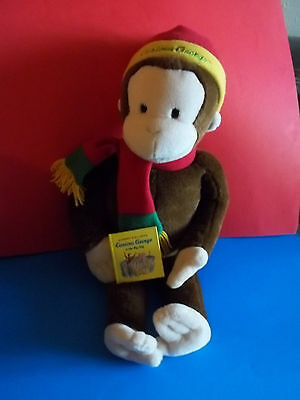 "Macy's 24"" CURIOUS GEORGE Monkey Plush with Book Hat Scarf 2001 Stuffed Animal G"