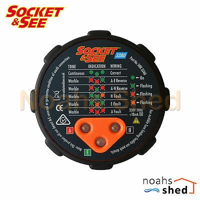 SOCKET & SEE AC 230V Mains Wiring Checker Power Point GPO Safety Tester SOK32AU