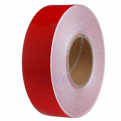 50M Red Warning Reflective Safety Tape Roll Self-Adhesive Sticker For Trucks Car