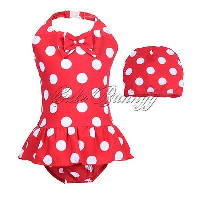 2PCS Girls Toddler Kid Swimsuit Dots Baby Swimwear Bathing Suit Hat Outfits 2-6Y