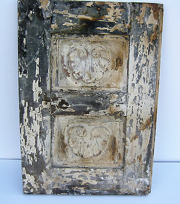 SPANISH COLONIAL ANTIQUE WOODEN DOOR PANEL ENGRAVED OLD MEXICO 26 1/4 x 18 1/4 e