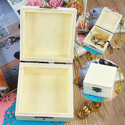DIY Wooden Wood Jewelry Box 8.2cm Square Mud Base Art Decor Cute Crafts Toys