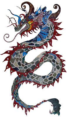 Chinese Colorful Dragon Marble Mosaic