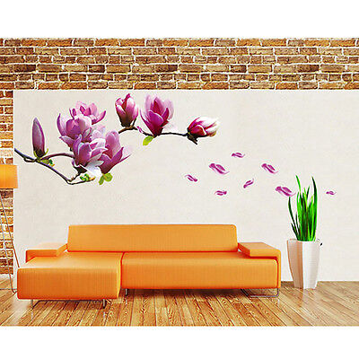 Large Magnolia Flower Tree Art Wall Decal Sticker DIY Home Mural Decor Removable