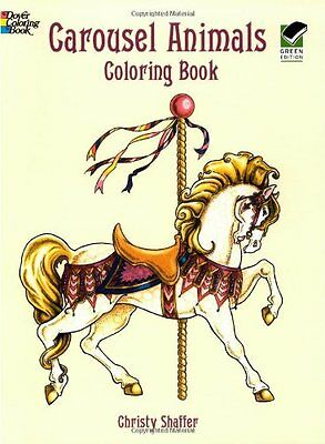 Adult Coloring Book Carousel Animals Art Stress Relief Designs Colouring Books