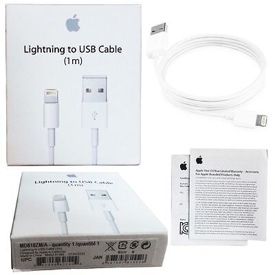 New Original Apple Lightning to USB Cable 1m iPhone 5 5S 6 6S - Buy 3 Get 2 Free