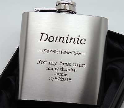 Personalized, Engraved Stainless Steel 6oz Hip Flask,Best Man User - BOLD TEXT