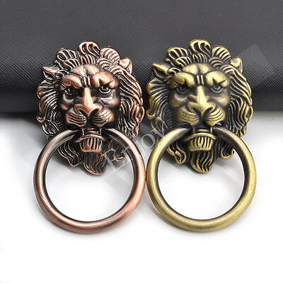 Large Lion Head Door Knob Pull Handle with Knocker Cabinet Drawer Dresser Decor