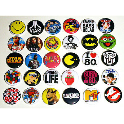 "ICONIC 80s PARTY BADGES Badges Buttons Pinbacks Pins x 30 - Size 25mm 1"" 1980s"