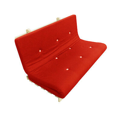 Memory Foam Futon Mattress | Roll Out/Fold Up Guest Bed | Red | 190cm x 125cm