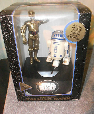 1995 Electronic Star Wars  R2D2 and C3PO Talking Bank-MIB