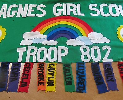 Scout Troop banner 3'X6' parade custom personalized felt-  rainbow
