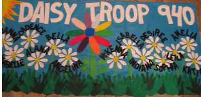 Scout Troop banner 3'X6' parade custom personalized felt- daisy