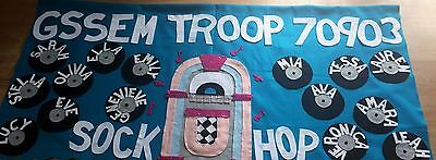 Scout Troop banner 3'X6' parade custom  felt-sock hop (or your theme)
