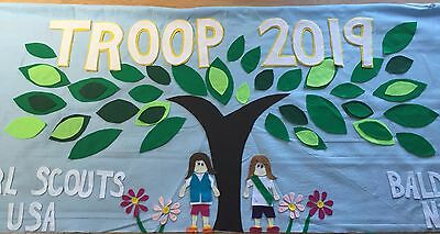 Scout Troop banner 3'X6' parade custom  felt-tree and girls