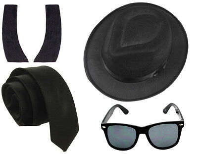 1980's Blue Brothers Fancy Dress Set Costume Hat Tie Glasses Sideburns
