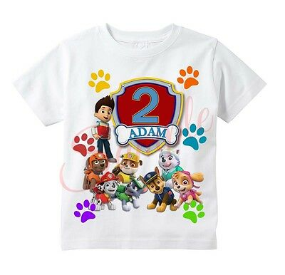 Paw Patrol BADGE Custom T-shirt Personalize tshirt Birthday gift ADD NAME/AGE