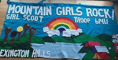 Scout Troop banner 3'X6' parade custom  felt- personalized