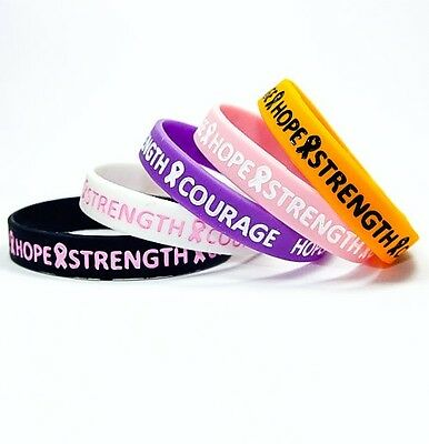 cancer hope strength medical alert silicone wristband Adult bracelet charity