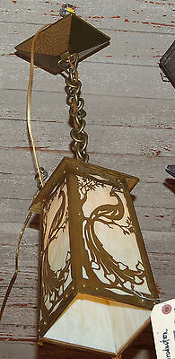 Antique Style Arts And Craft Peacock Pendant Light Slag Glass Shade