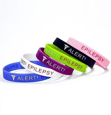 epilepsy seizure rescue epileptic medical alert silicone wrist band bracelet uk