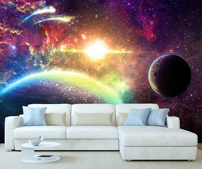 Space Universe Fantasy Planets Wall Mural Wallpaper Picture Self Adhesive 1071