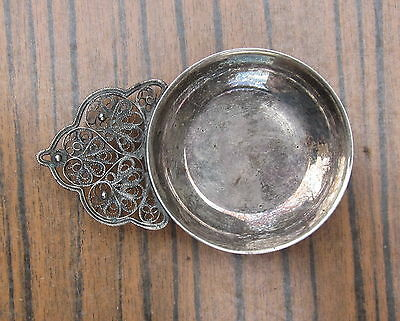 Vintage Russian Melchior Silver Alloy Small Pin Dish With Filigree Handle