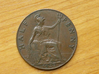 1922 Great Britain Half Penny ( Very Fine , My Opinion )