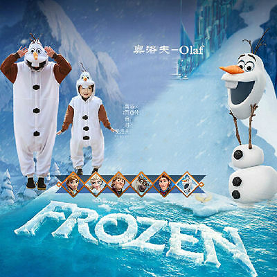 Frozen Adult Kids Pajamas Cosplay Unisex Onesie Olaf Kids Sleepwear