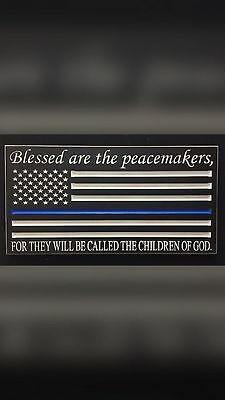 Police officer thin blue line American flag sign.