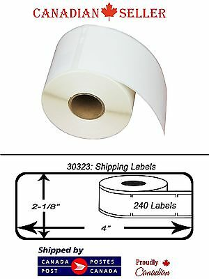 """4 Rolls Dymo Compatible 30323 Size 2-1/8"""" x 4"""" Thermal Address Shipping Labels"""