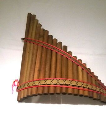Genuine Large Andean Sisca Curved Pan Pipes/ Flute 20 pipes