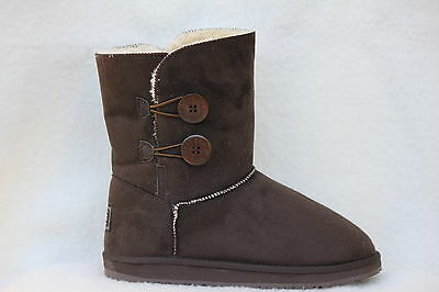 Ugg Boots 2 Button Synthetic Wool Colour Chocolate Size 8 Lady's