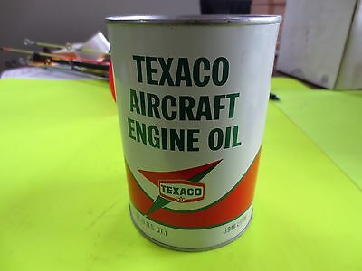 1968 Texaco Vintage Aircraft Engine Oil Can (full), Very Good, SAE40,Free Ship