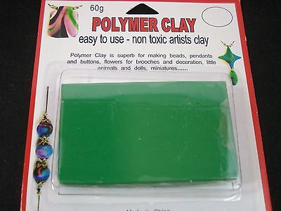 Modelling Polymer Clay Art/Craft Oven Bake 60g Green Party Fun Kids FREE POSTAGE