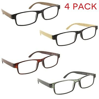 e3727c14eb20 Fiore 4 Pack Reading Glasses Wood Style Clear Lens Readers for Men and Women