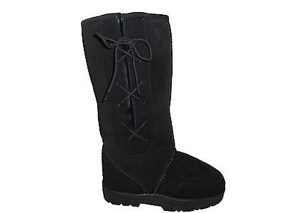 SHEEPSKIN UGG BOOTS LACE UP TALL Men Size 4/Lady Size 6 Colour Black