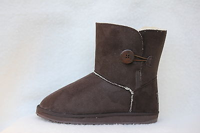 Ugg Boots 1 Button Synthetic Wool Colour Chocolate Size 6 Lady's