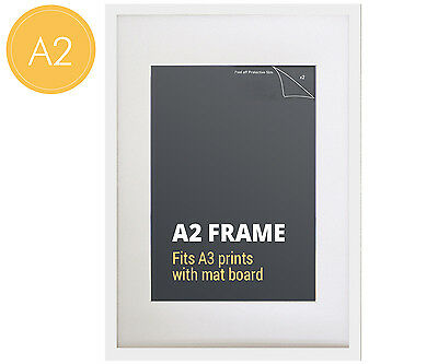 A2 White Photo Frame + Mat Board - Fits A3 or A2 Print - Picture Frame