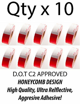 "2""x150' DOT-C2 Reflective Safety Red White Conspicuity Tape Truck Trailer- Qty10"
