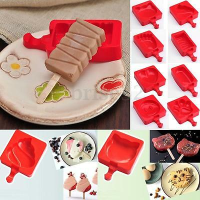 8 Patterns Silicone Cake Bake Ice Lolly Popsicle Maker Jelly Frozen Mold Mould