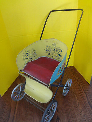 Vintage 1940's Muskin Toy Metal Doll Stroller & R & B Doll ***rare - Fast S/h***