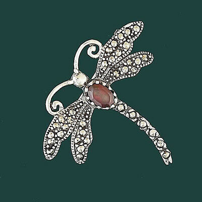 Pretty Vintage Inspired Dragonfly Brooch Sterling Silver 925 Garnet Marcasite
