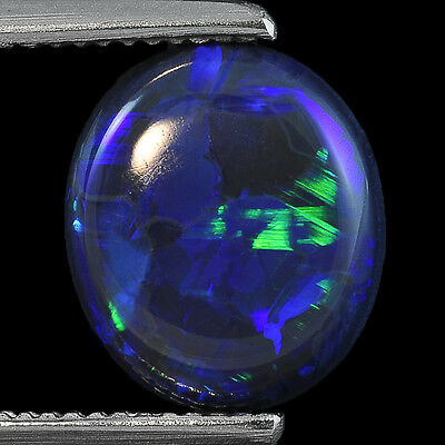 1.96Cts Natural Australian Black Opal Solid Fire Play Oval Cabochon Gemstone