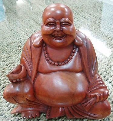 Laughing Happy Buddha Hard Wood Carved Statue Feng Shui Bali Balinese 13Cm