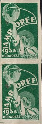 Old Boy Scout World Jamboree 1933 Letter Envelope closing STAMPS (ONE PAIR)